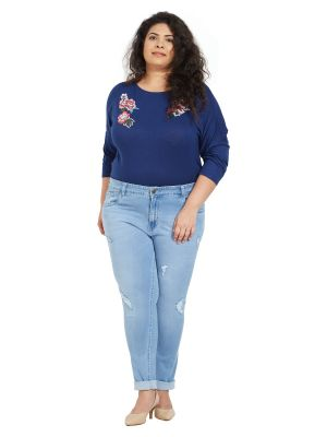 Buy ZUSH Mid Rise Slim Fit Light Blue Color Cotton Blend Fabric Plus Sized Jeans For Womens online