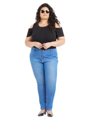 Buy ZUSH Mid Rise Regular Fit Medium Blue Color Cotton Blend Fabric Plus Sized Jeggings For Womens online