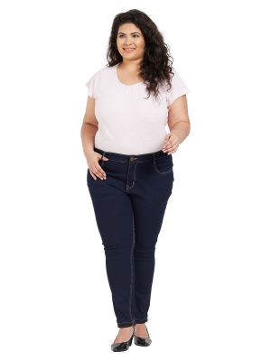 Buy ZUSH Mid Rise Regular Fit Dark Blue Color Cotton Blend Fabric Plus Sized Jeans For Womens online
