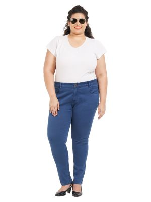 Buy ZUSH Mid Rise Regular Fit Blue Color Cotton Blend Fabric Plus Sized Pant For Womens online