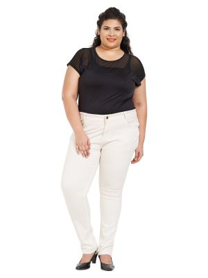 Buy ZUSH Mid Rise Regular Fit Ivory Color Cotton Blend Fabric Plus Sized Pant For Womens online