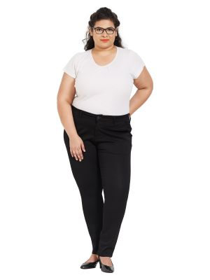 Buy ZUSH Mid Rise Regular Fit Black Color Cotton Blend Fabric Plus Sized Formal Pant For Womens online