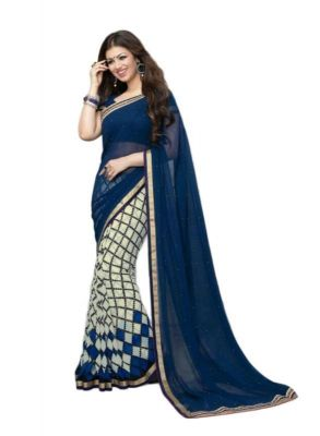 Buy Creative Fashion Ayesha Takia Bollywood Replica Blue Checks Printed Saree (product Code - A3_blue-checks) online