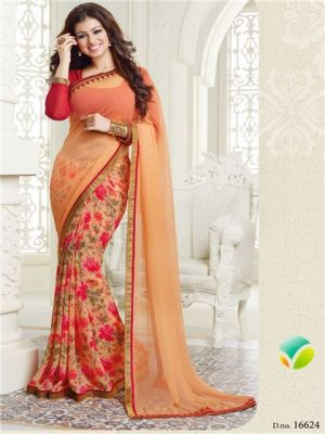 Buy Priya Fashion Ayesha Takia Light Orange Georgette Saree online