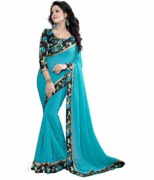 Buy Pushty Fashion Sky Blue Lace Work Dani Saree Z-242 online
