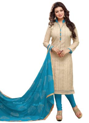 Buy Pushty Fashion Cream Color Chanderi Cotton Semi Stitched Dress Pf-mns-188 online