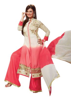 Buy Pushty Fashion Pink And Cream Embroidered Straight Cotton Dress Material Adn-pe1-29 online