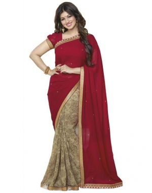 Buy Creative Fashion Ayesha Takia Bollywood Replica Maroon Gulab Printed Saree (product Code - Maroon_gulab) online