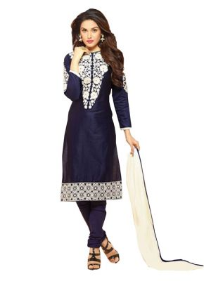 Buy Pushty Fashion Navy Blue Embroidered Cotton Semistitched Salwar Kameez Hp-1046 online