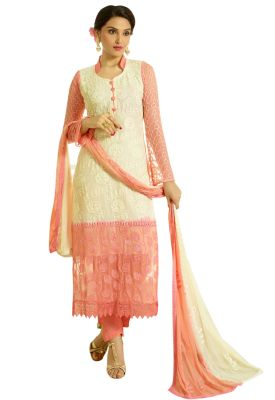 Buy Pushty Fashion Beige colour other georgette Semistitched Dress Materials online