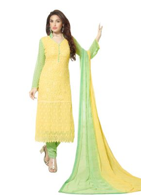 Buy Pushty Fashion Yellow Colour Other Georgette Semistitched Dress Materials Pf16-2147 online