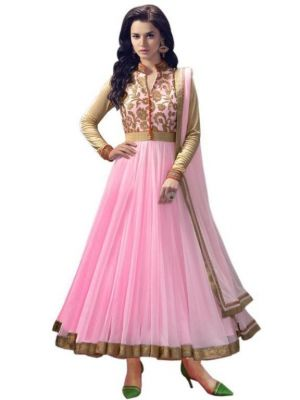 Buy Crazyvilla Lime Color Embroidered Designed Net Semi-stitched Anarkali Suit-(code-cra308) online