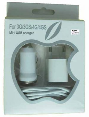 Buy iPhone 3 In 1 Charger With Car Charger & Data Cable Charging USB Apple 3G 4 online