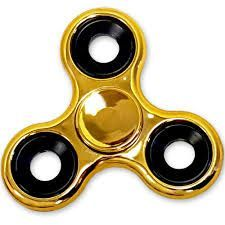 Buy Shiny Gold Metallic Color Fidget Tri-spinner Edc Bearing Adhd Focus Stress Reliever Hand Toys online