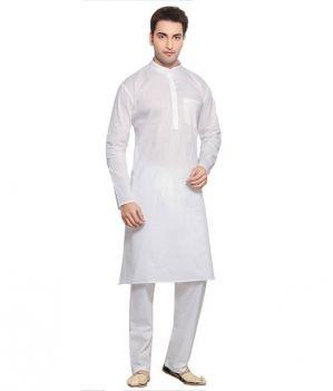 Buy Arose Fashion Men's 100% Cotton White Solid Full Sleeve Kurta Pajama Set (code - Kpww-414) online