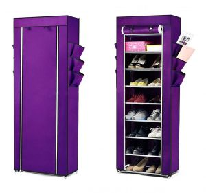 Buy Home Basics 0 Layer Purple Portable Multi Utility Shoe Rack Organizer online