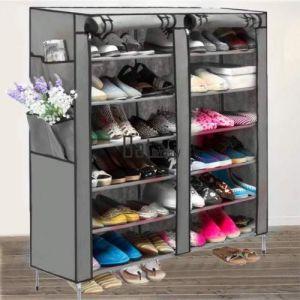 Buy Fancy 6 Layer Double Grey Shoe Rack Organizer Polyester Standard Shoe Rack (12 Shelves) online