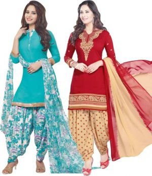 Buy Elegant Crepe Designer Printed  Pack of Two Unstitched Dress Material Suit online