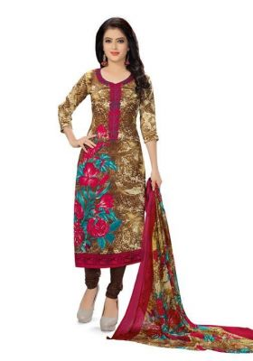 Buy Elegant Crepe Designer Printed Unstitched Dress Material Suit online
