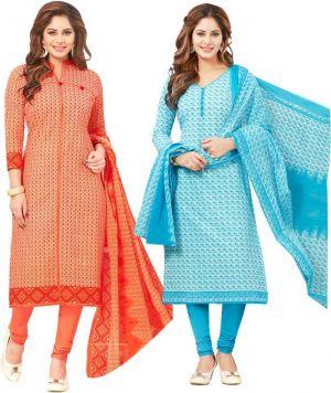 ffbc0cdb85 Buy Elegant Cotton Designer Printed Pack of Two Unstitched Dress Material  online