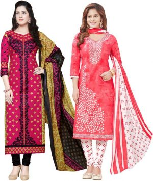 Buy Elegant Cotton Designer Printed  Pack of Two Unstitched Dress Material online