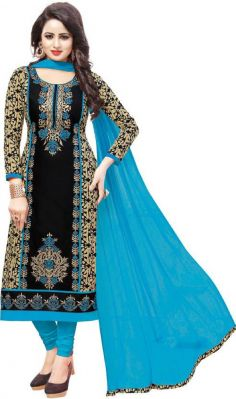 Buy Radiant Cotton Embroidered Salwar Suit Dress Material with Chiffon Dupatta online