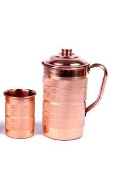 Buy Luxary Copper Jug / Embossed Copper Jug / Copper Jug For Good Health With Copper Glass online