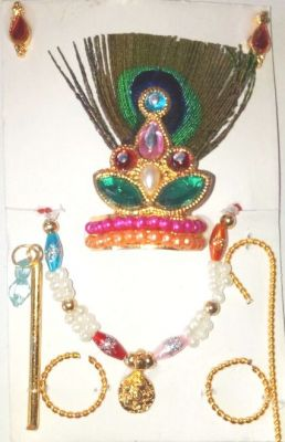 Buy Laddu Gopal Shringar Set / Morpankh Mukut Jewellery Set - 2 PCs online