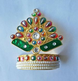Buy Stone And Moti Work Design Mukut For Thakurji / Mukut Shringar For Bal Gopal online