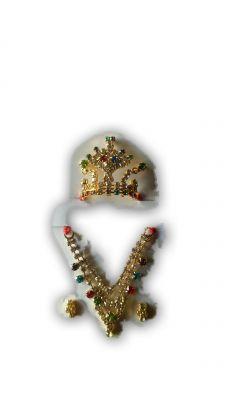 Buy Beautiful Mukut Mala Set For Laddu Gopal Stone Kundan Work Shringar Set For Bal Gopal online