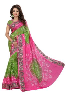 Buy Nirja Creation Baby Pink Color Art Silk Bandhani Saree Nc1040ssd online