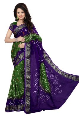 Buy Nirja Creation Green And Blue Color Art Silk Bandhani Nc1045ssd online