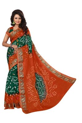 Buy Nirja Creation Orange And Green Color Art Silk Bandhani Saree Nc1047ssd online