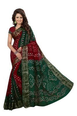 Buy Nirja Creation Green And Maroon Color Art Silk Bandhani Saree Nc1060ssd online