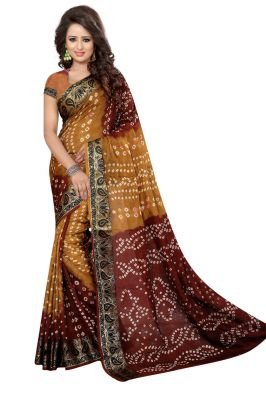 Buy Nirja Creation Brown Color Art Silk Bandhani Saree Nc1062ssd online