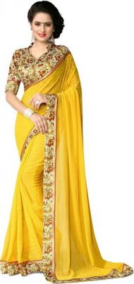 Buy Nirja Creation Yellow Georgette Fancy Saree online