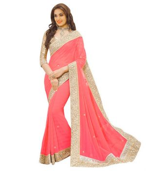 Buy Nirja Creation Pink Georgette Fancy Saree online