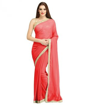 Buy Nirja Creation Red Georgette Fancy Saree online