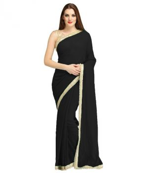 Buy Nirja Creation Black Georgette Fancy Saree online