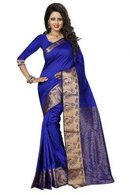 Buy Nirja Creation Blue Color Cotton Banarasi Saree online