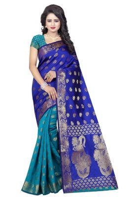 Buy Nirja Creation Blue Color Banarasi Cotton Fancy Saree online
