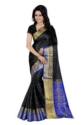 Buy Nirja Creation Black Color Banarasi Cotton Fancy Saree online