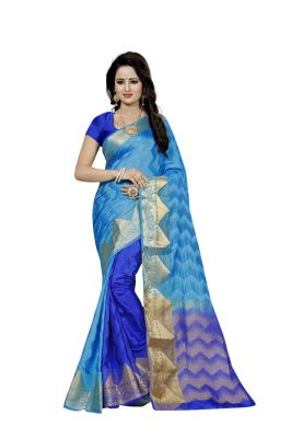 Buy Nirja Creation Sky Blue Color Banarasi Cotton Fancy Saree online