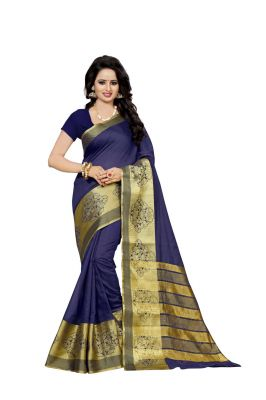 Buy Nirja Creation Navy Blue Color Banarasi Cotton Fancy Saree online
