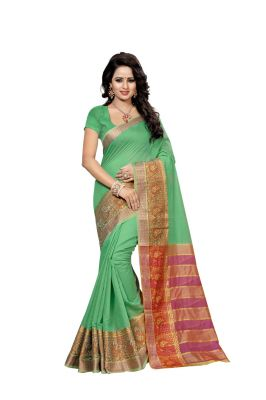 Buy Nirja Creation  Green Color Banarasi Cotton Fancy Saree online