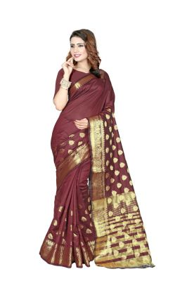 Buy Nirja Creation Brown Color Banarasi Cotton Fancy Saree online