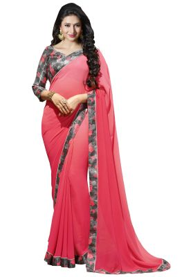 Buy Nirja Creation Pink Color Georgette Fancy Saree online