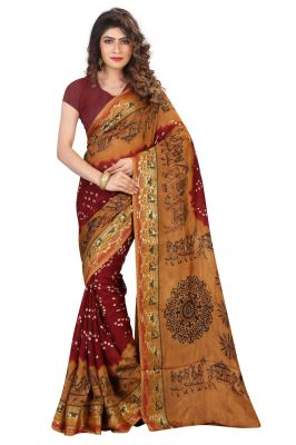 Buy Nirja Creation Brown Color Art Silk Bandhani Saree Nc1080ssd online