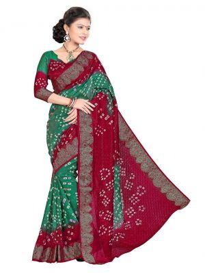Buy Nirja Creation Green , Red Color Art Silk Bandhani Saree Nc-008ssd online