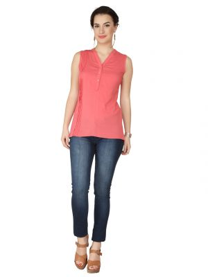 Buy Soie Pink Lycra Voile Top For Women online